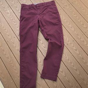 Express maroon easy care stretch slim chinos